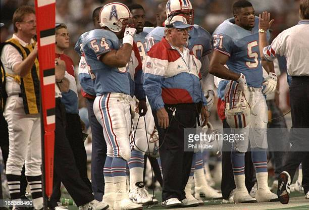 Houston Oilers defensive coordinator Buddy Ryan on sidelines during game vs Pittsburgh Steelers at Houston Astrodome Houston TX CREDIT Phil Huber