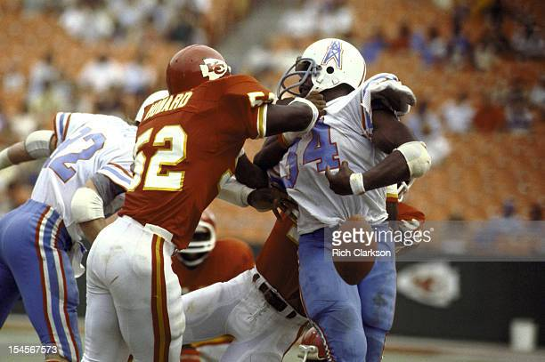 Houston Oilers Earl Campbell in action making fumble vs Kansas City Chiefs at Arrowhead Stadium Kansas City MO CREDIT Rich Clarkson