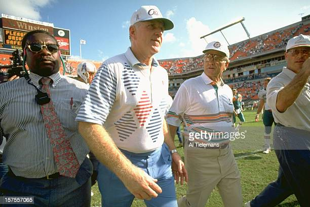Houston Oilers head coach Jack Pardee and Miami Dolphins head coach Don Shula on field after game at Joe Robbie Stadium. Miami, FL CREDIT: Al...