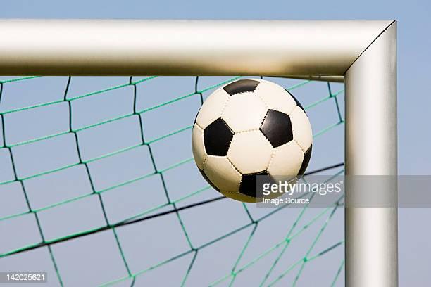 Football in corner of goalpost
