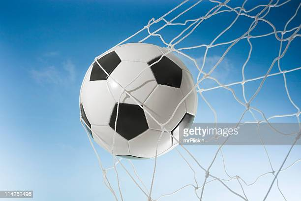 football in the net (xxl) - netting stock pictures, royalty-free photos & images