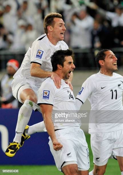 Football International 2010 FIFA World Cup Qualification Play Off November 14th 2009 New Zealand Bahrain Cheering New Zealand Shane SMELTZ scorer...