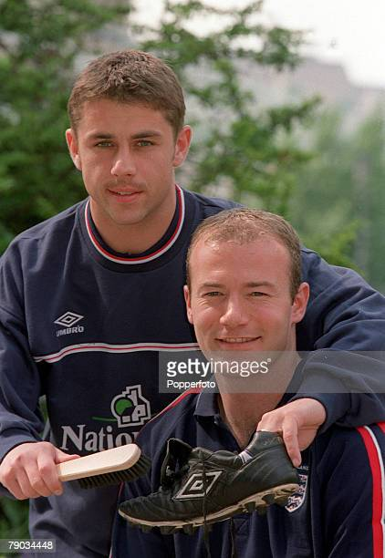 Football International Friendly Budapest Hungary 1 v England 1 27th April England captain Alan Shearer pictured with his former boot boy at...