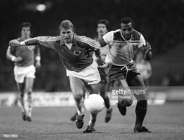 Football International Friendly Wembley England 1 v West Germany 2 13th October 1982 England's Cyrille Regis races with West Germany's Bernd Foerster...
