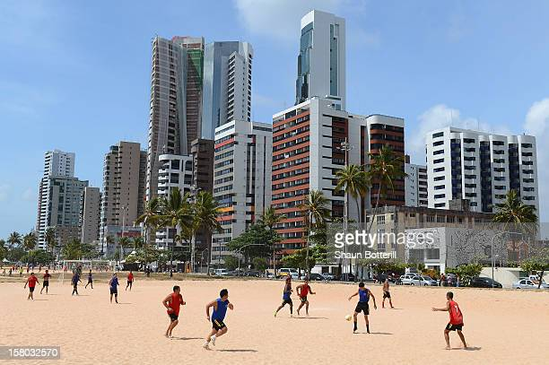 Football is played on Boa Viagem beach on December 9 2012 in Recife Brazil