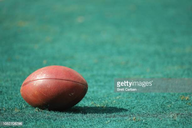 A football is seen in the endzone before the Philadelphia Eagles take on the Carolina Panthers at Lincoln Financial Field on October 21 2018 in...