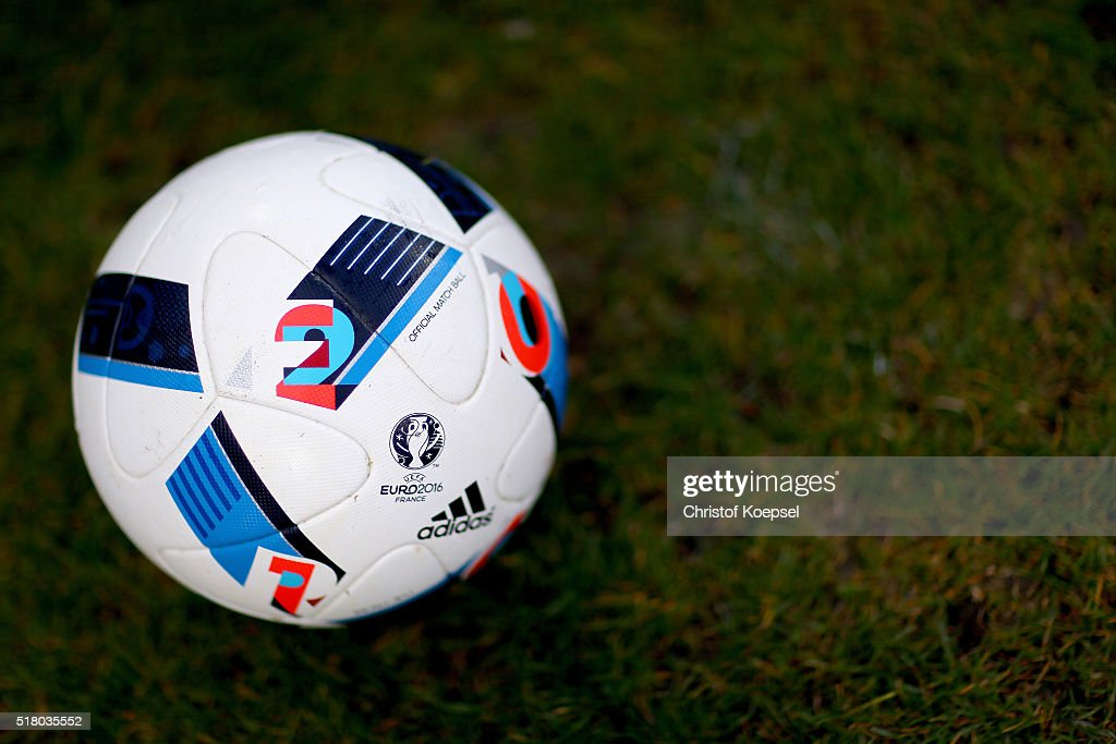 A football is seen prior to the U17 Euro Qualification match between Germany and Netherlands at Paul Janes Stadium on March 29, 2016 at Esprit-Arena in Duesseldorf, Germany.