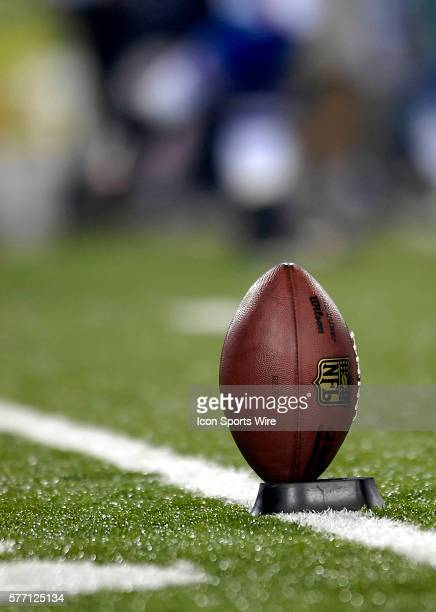 A Football is teed up and ready for the start of play between the Buffalo Bills the Dallas Cowboys at Ralph Wilson Stadium in Buffalo New York The...