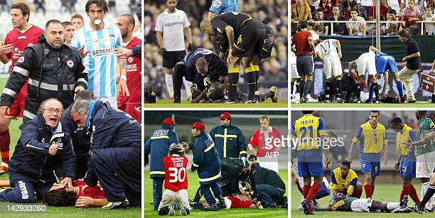 STORY Football Italian death brings medical testing into focus This combo of five pictures shows football players after they collapsed on the pitch...