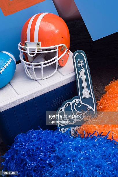 football items for tailgate party - foam finger stock photos and pictures