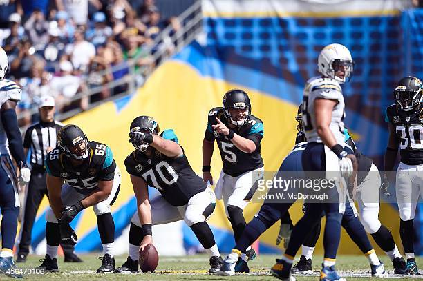 Jacksonville Jaguars QB Blake Bortles calling signals with Luke Bowanko during game vs San Diego Chargers at Qualcomm Stadium San Diego CA CREDIT...