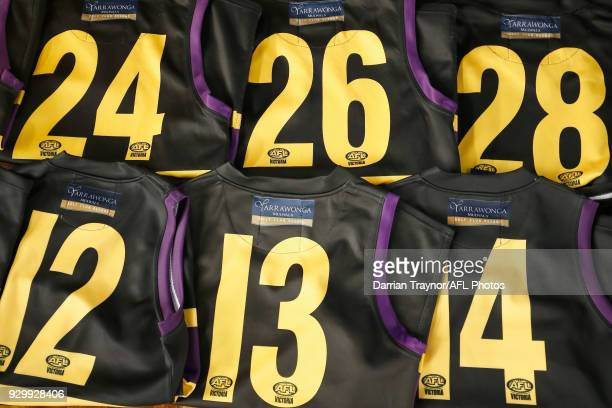Football jumpers are lined up during the TAC Cup Fitness Testing Day at Maribyrnong College on March 10 2018 in Melbourne Australia