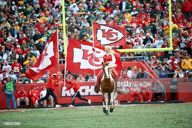 Kansas City cheerleader riding a horse on the field before game vs Green Bay Packers at Arrowhead Stadium Kansas City MO CREDIT David E Klutho