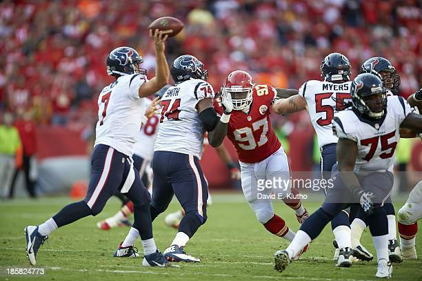 Kansas City Chiefs Allen Bailey in action vs Houston Texans Chris Myers and Wade Smith at Arrowhead Stadium Kansas City MO CREDIT David E Klutho
