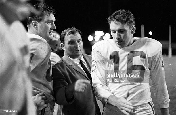 Kansas City Chiefs coach Hank Stram with QB Len Dawson on sidelines during game vs Denver Broncos Kansas City MO 9/7/1963 CREDIT Rich Clarkson