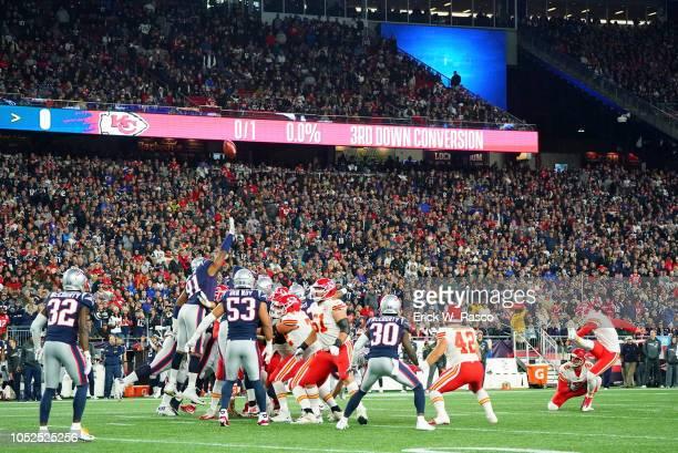 Kansas City Chiefs Harrison Butker in action kicking vs New England Patriots at Gillette Stadium Foxborough MA CREDIT Erick W Rasco