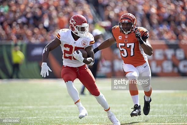 Kansas City Chiefs Jamaal Charles in action rushing vs Cincinnati Bengals Vincent Rey at Paul Brown Stadium Cincinnati OH Mast