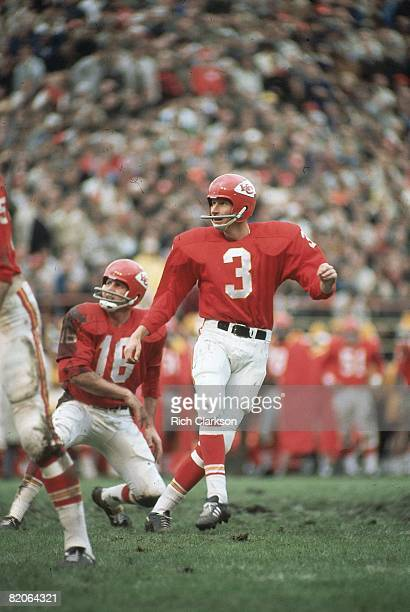 Kansas City Chiefs Jan Stenerud in action taking kick from QB Len Dawson vs Miami Dolphins Kansas City MO 10/8/1967 CREDIT Rich Clarkson