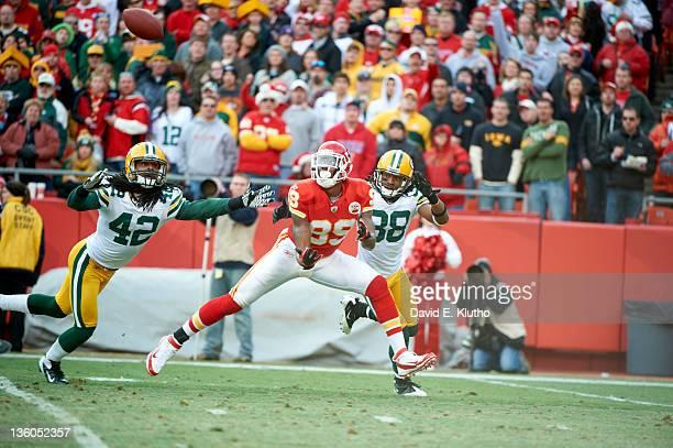 Kansas City Chiefs Jon Baldwin in action vs Green Bay Packers Tramon Williams and Morgan Burnett at Arrowhead Stadium Kansas City MO CREDIT David E...