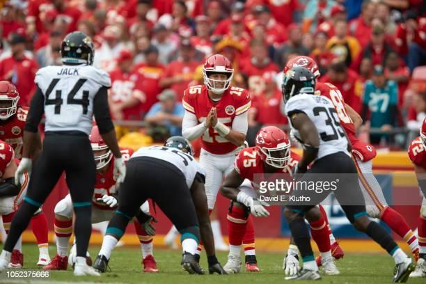 Kansas City Chiefs QB Patrick Mahomes calling signals during game vs Jacksonville Jaguars at Arrowhead Stadium Kansas City MO CREDIT David E Klutho