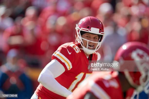 Kansas City Chiefs QB Patrick Mahomes calling signals during game vs Denver Broncos at Arrowhead Stadium Kansas City MO CREDIT David E Klutho