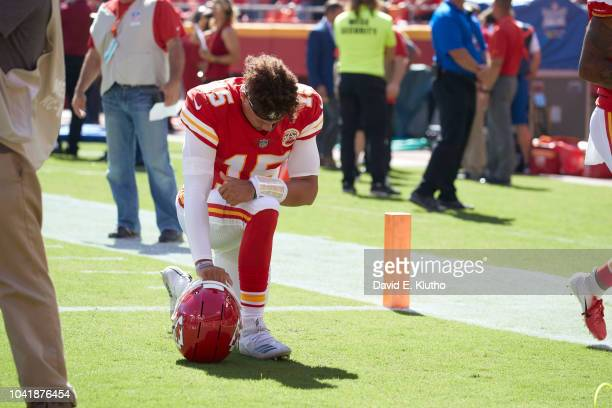 Kansas City Chiefs QB Patrick Mahomes down on one knee on field during game vs San Francisco 49ers at Arrowhead Stadium Kansas City MO CREDIT David E...
