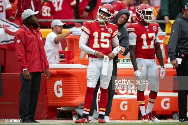 Kansas City Chiefs QB Patrick Mahomes on sidelines during game vs Jacksonville Jaguars at Arrowhead Stadium Kansas City MO CREDIT David E Klutho