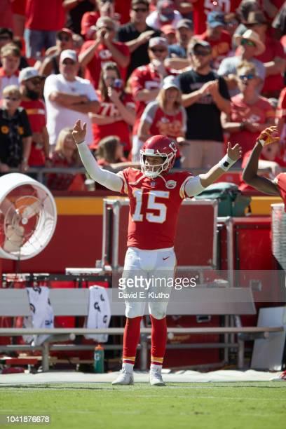 Kansas City Chiefs QB Patrick Mahomes victorious on field during game vs San Francisco 49ers at Arrowhead Stadium Kansas City MO CREDIT David E Klutho