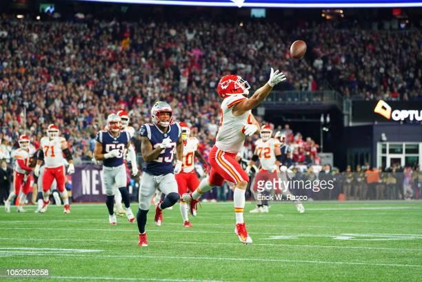 Kansas City Chiefs Travis Kelce in action vs New England Patriots at Gillette Stadium Foxborough MA CREDIT Erick W Rasco
