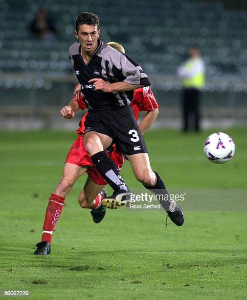 Football Kingz Riki van Steeden kicks through against the Gippsland Falcons in the NSL at North Harbour Stadium Auckland Friday The match was a one...