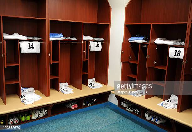 Football kits lay ready in the Uruguay dressing room prior to the FIFA U20 World Cup Colombia 2011 group B match between Uruguay and Cameroon at the...