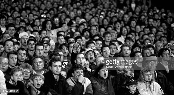 Football League Cup Arsenal v Derby County Derby fans stand at Highbury