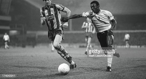 Football League Cup Tottenham Hotspur v West Bromwich Albion Garth Crooks outpaces Albion defender John Wile