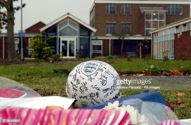 A football left at Birkbeck School North Somercotes Lincolnshire where schoolboy Luke Walmsley was murdered on Tuesday A 15yearold boy was remanded...