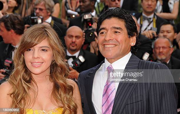 Football legend Diego Armando Maradona and daughter Dalma attends the 'Che' premiere at the Palais des Festivals during the 61st International Cannes...