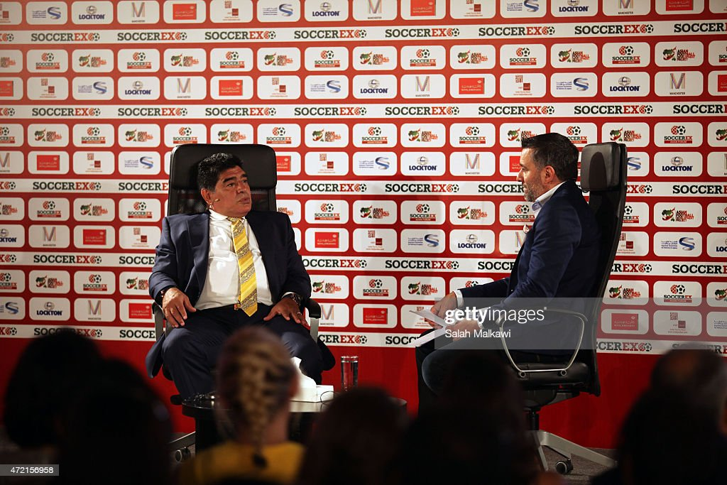 Football legend Diego Armando Maradona shares his experience during the session' El Diego: An Interview With Diego Maradona' on the second day of Soccerex convention, the world's largest football business event in Jordan bringing together global leaders in the business of football to debate network and do business on May 4, 2015 at the King Hussein convention centre, Dead Sea, Jordan.