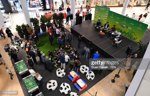 Football legend Fernando Couto of Portugal and Bebeto of Brazil are interviewed at a meet and greet event prior to the Official Draw for the FIFA U...