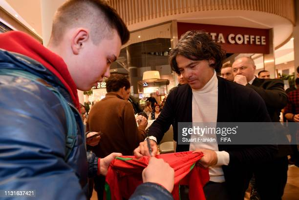 Football legend Fernando Couto of Portugal signs autographs for fans at a meet and greet event prior to the Official Draw for the FIFA U 20 World Cup...