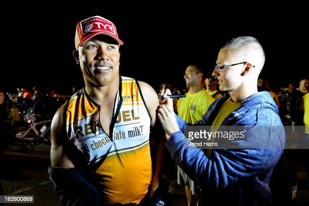 Football legend Hines Ward prepares to tackle his first ever triathlon with REFUEL | Got Chocolate Milk on March 17 2013 in San Diego California