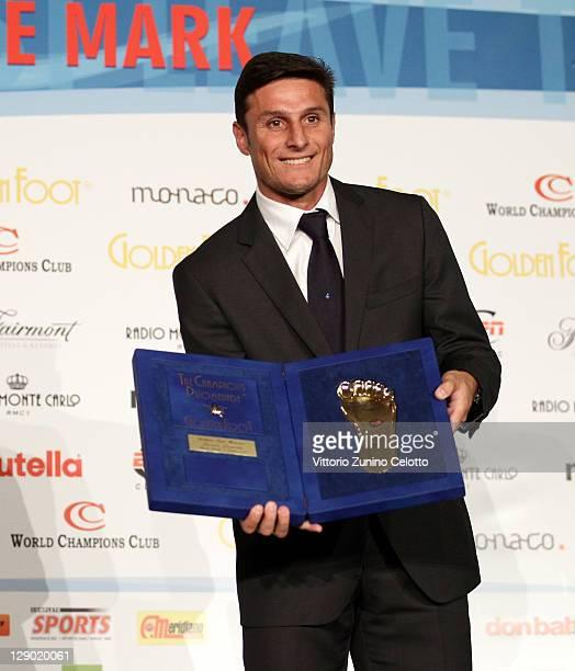Football legend Javier Zanetti attend the Golden Foot Ceremony Awards on October 10 2011 in Monaco Monaco