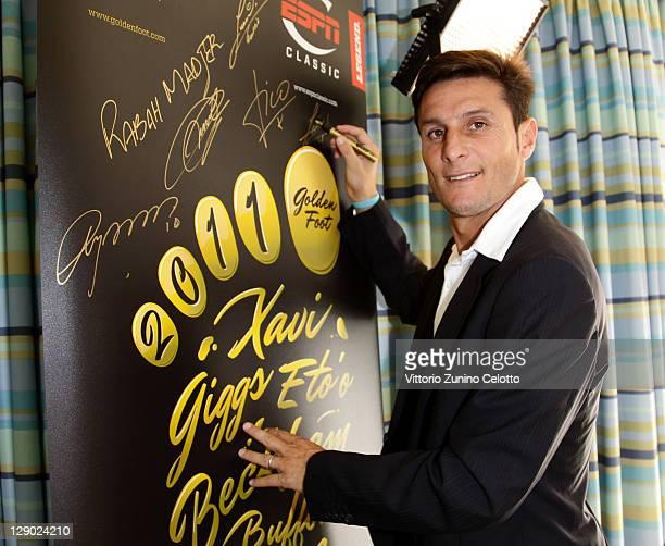 Football legend Javier Zanetti attends Golden Foot Awards previews on October 10 2011 in Monaco Monaco