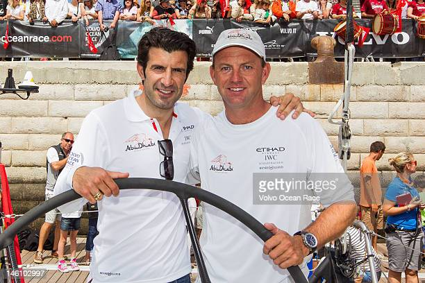 Football legend Luis Figo and Abu Dhabi Ocean Racing skipper Ian Walker from the UK pose for the start of Leg 8 from Lisbon Portugal to Lorient...