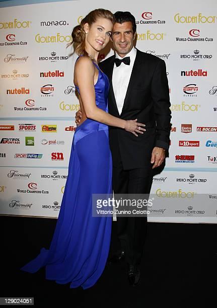 Football legend Luis Figo and wife Helen Svedin attend the Golden Foot Ceremony Awards on October 10 2011 in Monaco Monaco