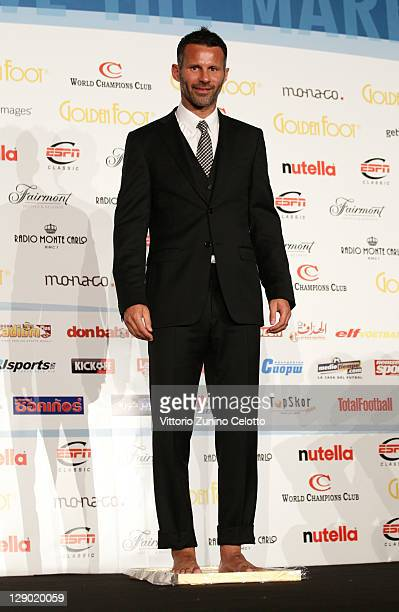 Football legend Ryan Giggs attend the Golden Foot Ceremony Awards on October 10 2011 in Monaco Monaco