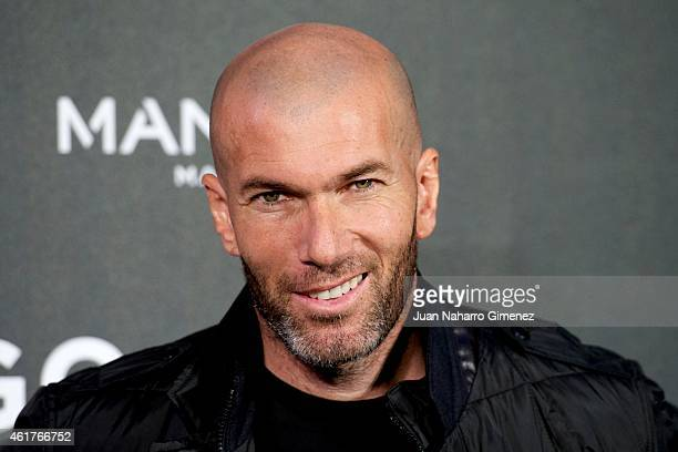 Football legend Zinedine Zidane is presented as the new face of Mango Man's springsummer 2015 campaign at Camera Studio on January 19 2015 in Madrid...