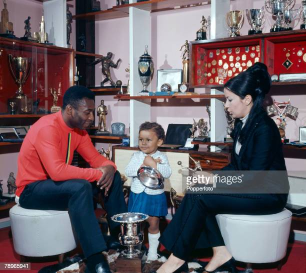 Football Legendary Brazilian footballer Pele with his wife Rosemeri and daughter Kelly Christina circa 1968 1969