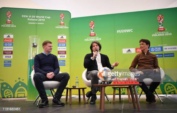 Football legends Fernando Couto of Portugal and Bebeto of Brazil are seen at a meet and greet event prior to the Official Draw for the FIFA U 20...