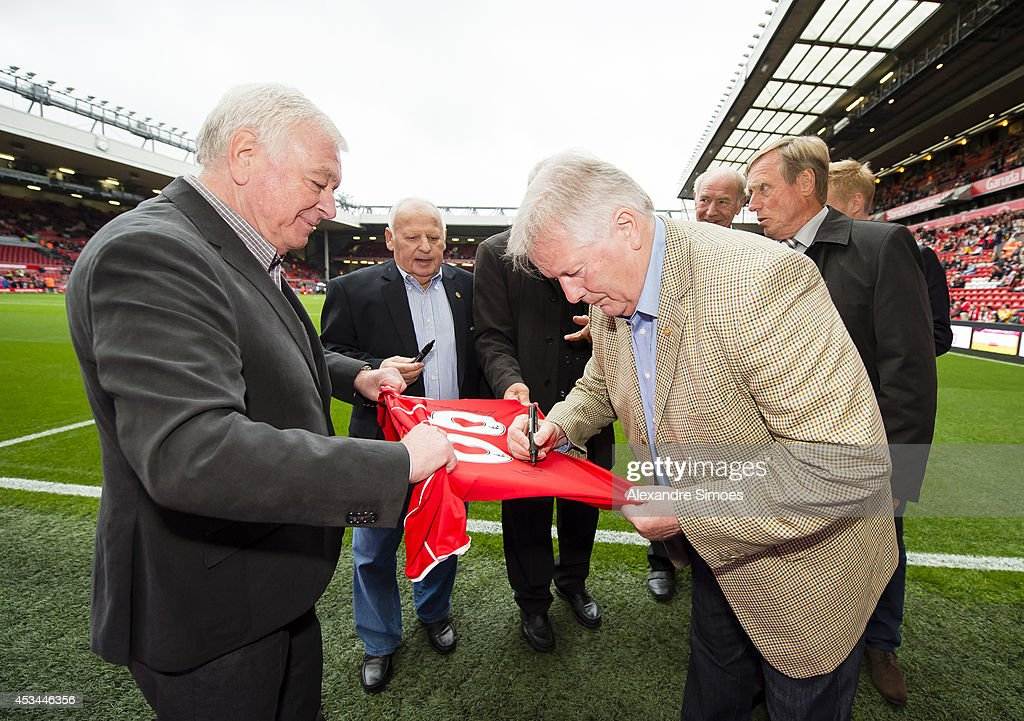 Football legends Ian Callaghan and Theo Redder before the pre season friendly match between Liverpool FC and Borussia Dortmund at Anfield on August 10, 2014 in Liverpool, England.