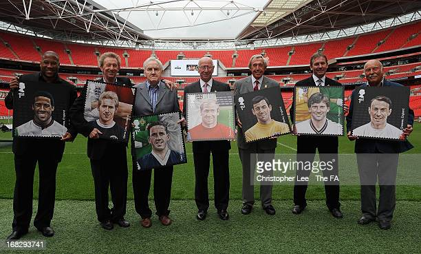 Football Legends, John Barnes, Denis Law, Dave Mackay, Sir Bobby Charlton, Gordon Banks, Bryan Robson and Jimmy Greaves pose for the camera with...
