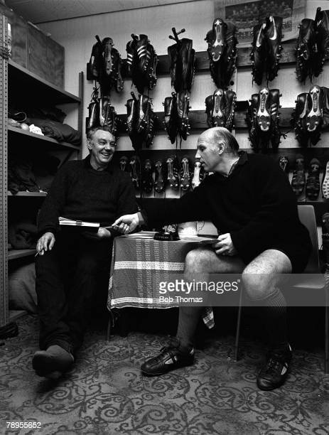 Football Liverpools Assistant Manager Joe Fagan and Trainer Ronnie Moran discuss business in the bootroom at Anfield